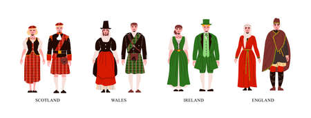 People from scotland wales ireland and england in their national costume flat set isolated vector illustration