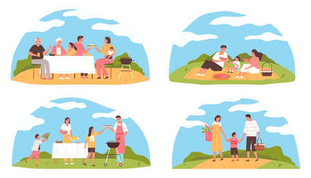 Flat family barbecue picnic compositions set with happy characters cooking eating walking outdoors isolated vector illustration