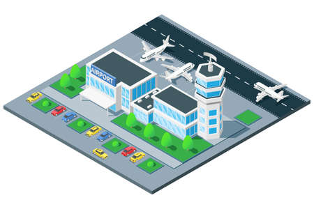 Airport terminal birds eye view isometric composition with traffic control tower airplane takeoff on runway vector illustration Ilustracja