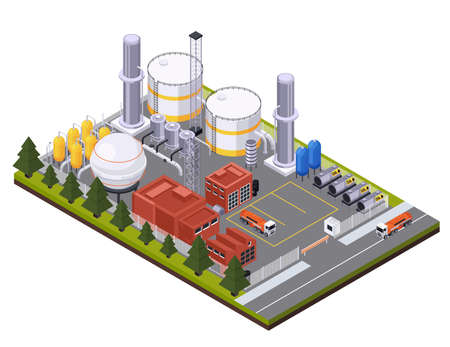 Oil petroleum industry isometric composition with view of factory area with cisterns trucks and oil tanks vector illustration