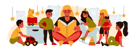 Kindergarten composition with female character of nanny reading out book for group of kids with toys vector illustration