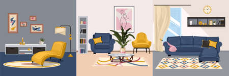 Furniture interior design concept with set of square compositions with views of interiors with designer furniture vector illustration