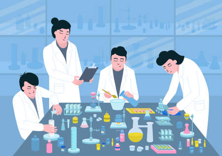 Medical development at the table of pharmaceuticals on a blue background flat vector illustration Ilustracja