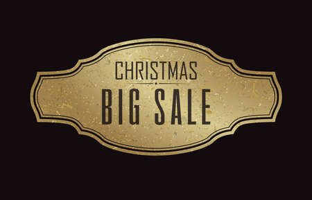Flat design black background with christmas big sale advertisement banner in middle vector illustration