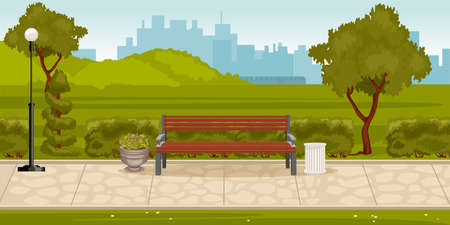 Park composition with outdoor landscape of city park with green hills lane with bench and cityscape vector illustration Ilustracja