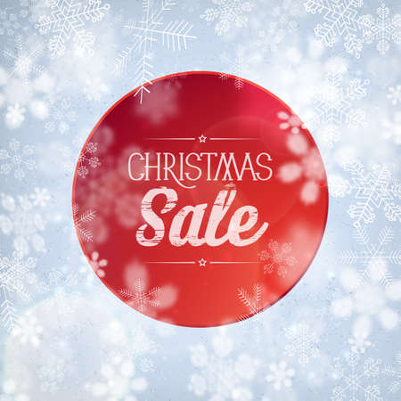 Flat design christmas sale advertisement written on red circle on background with snowflakes vector illustration