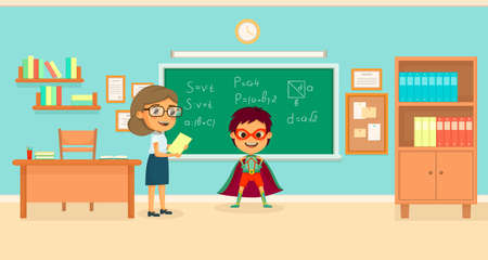 Kids superheroes cartoon concept with the boy in class solved all the equations on the board vector illustration Ilustracja