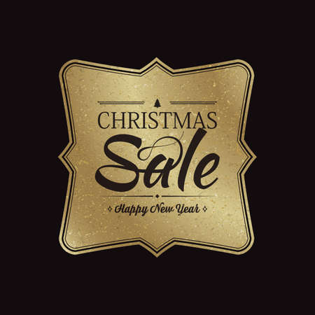 Black christmas sale background with golden banner in middle flat vector illustration
