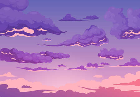 Evening cloudy sky purple background with group of cumulus and cirrus clouds flat cartoon vector illustration Stock Illustratie