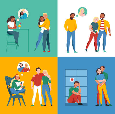 Lonely and together concept icons set with relationship symbols flat isolated vector illustration Stock Illustratie