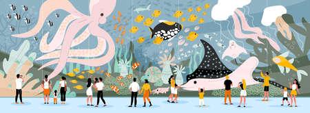 Men women and kids watching giant sea creatures and underwater plants in oceanarium flat horizontal vector illustration