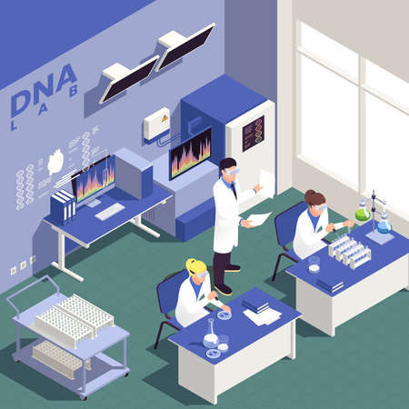 Genetic engineering isometric background with science and research symbols vector illustration Stock Illustratie