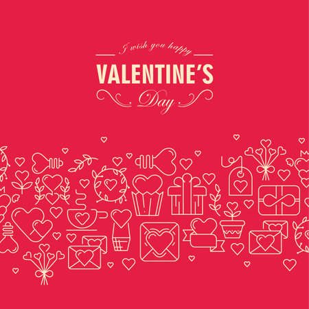 Happy valentine's day bright pink background with romantic icons pattern flat vector illustration