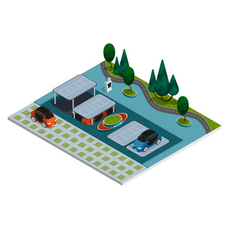 Parking isometric composition robotic smart parking with robots and underground parking spaces vector illustration