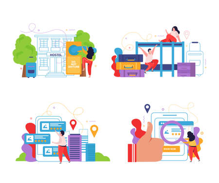 Hostel and tourists 2x2 design concept set of planning online search and reservation flat compositions vector illustration Stock Illustratie