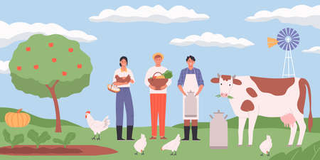 Farm landscape flat background with hens cow and happy farmers holding eggs basket with harvest can of milk vector illustration