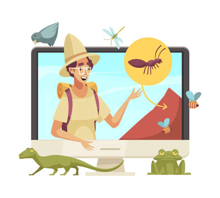 Happy blogger character telling about insects and animals online cartoon vector illustration Stock Illustratie
