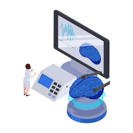 Future technology isometric icon with human brain computer equipment and character vector illustration Stock Illustratie