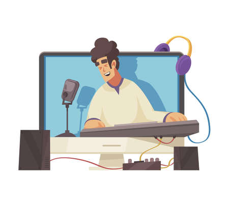 Cartoon video blogger singing and playing keyboard online vector illustration