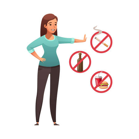 Healthy lifestyle cartoon composition with female character getting rid of smoking consuming alcohol and junk food vector illustration Ilustracja