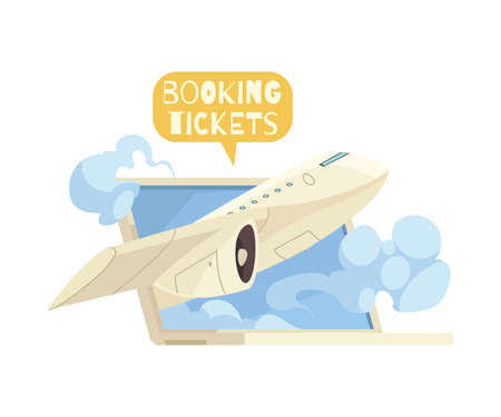 Booking tickets online composition with laptop and flying plane cartoon vector illustration