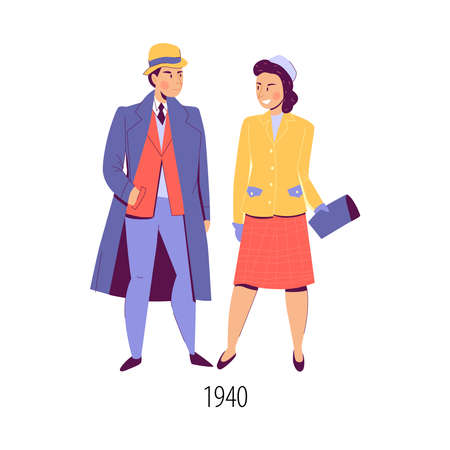 Characters of man and woman wearing 1940 fashion clothes flat isolated vector illustration