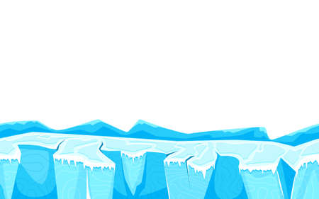 Cartoon landscape ground with ice surface for game user interface vector illustration