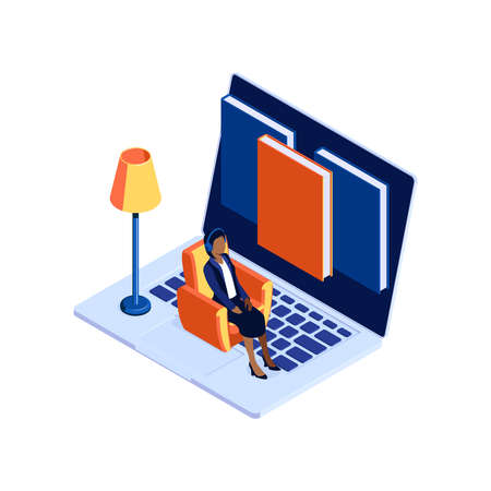Audio books library concept with 3d laptop and woman in headphones isometric vector illustration