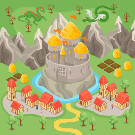 Fantasy medieval city landscape and dragons flying above castle and rocks isometric vector illustration
