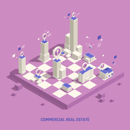Commercial real estate location choice preferences online navigation model with chessboard strategy symbol isometric background vector illustration