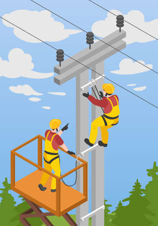 Electrician isometric background with high systems and danger symbols vector illustration