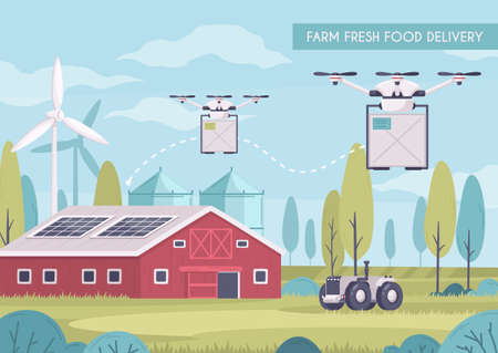 Smart farming cartoon composition with images of flying drones carrying parcels with food out of barn vector illustration