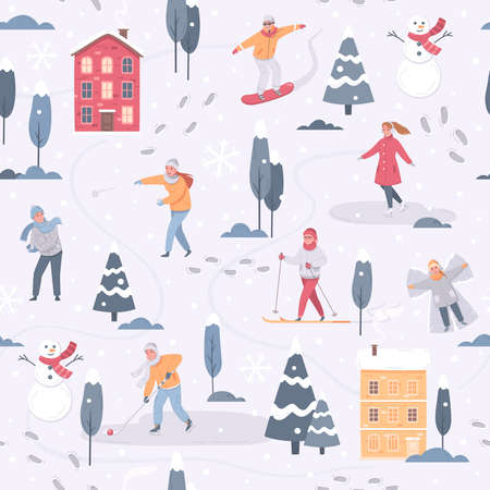 Winter sports leisure activity cartoon pattern with images of snowy trees houses and people doing sports vector illustration