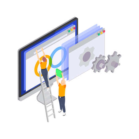 Programming coding development isometric icons composition with small people moving computer windows on screen vector illustration