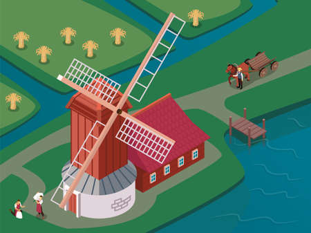 Old fashioned windmill with sails spinning atop of wooden tower surrounded by canals isometric composition vector illustration Ilustracja