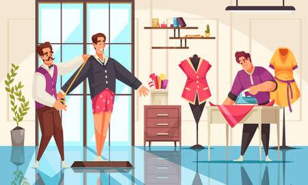 Tailors taking measurement and ironing clothing at studio cartoon vector illustration Ilustracja