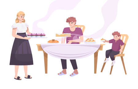 Bakery set flat composition with view of family members at table with baked products vector illustration