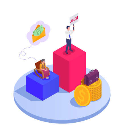 Social security unemployment family benefits isometric composition with stacks of coins cash in envelopes and people vector illustration