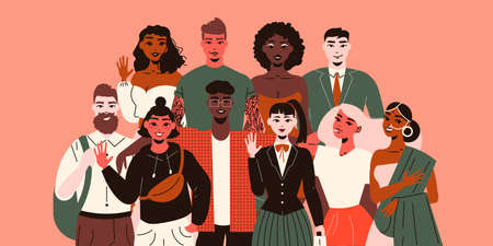 Nationality people composition with doodle style characters of young people of various ethnicity making peaceful gestures vector illustration