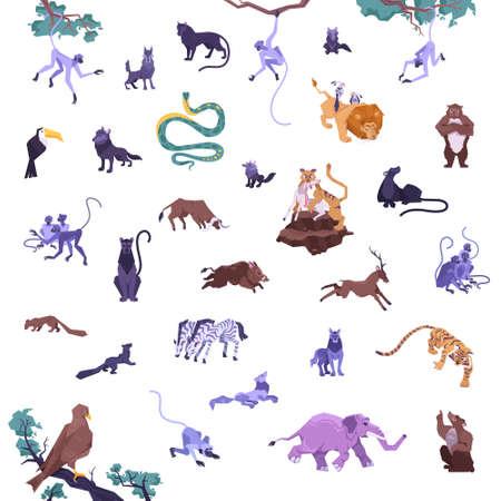 Animal set of flat isolated jungle animals with weed eaters predators hanging monkeys snake and birds vector illustration Ilustracja
