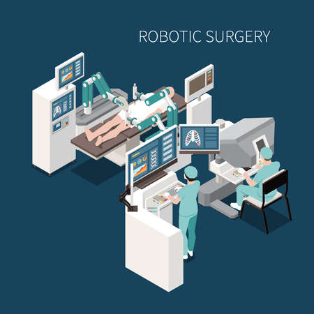 Robotic surgery isometric composition with innovative operation symbols vector illustration