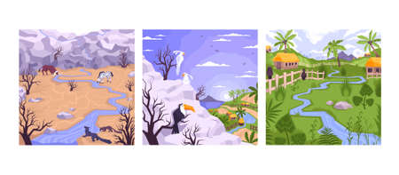 Landscapes set with three square compositions flat images of village houses mountains and drylands with animals vector illustration Ilustracja