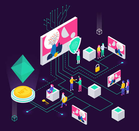 Cryptographic art crypto art nft isometric composition with human characters and holographic objects connected with lines vector illustration