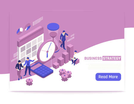 Business strategy isometric banner with creative people discussing business development plans vector illustration Ilustracja