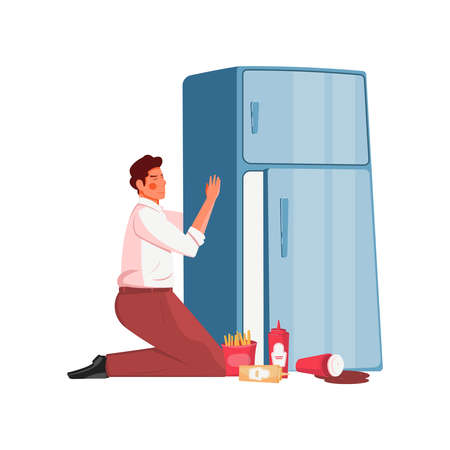 Gluttony flat concept with man hugging fridge with junk food on floor vector illustration