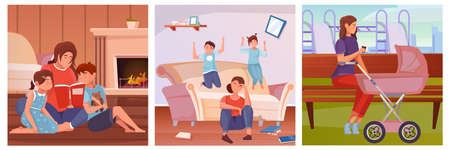 Motherhood three flat illustrations with mother characters and their children doing everyday activities isolated vector illustration