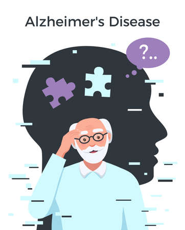 Dementia alzheimer disease flat concept with senior man vector illustration Ilustracja