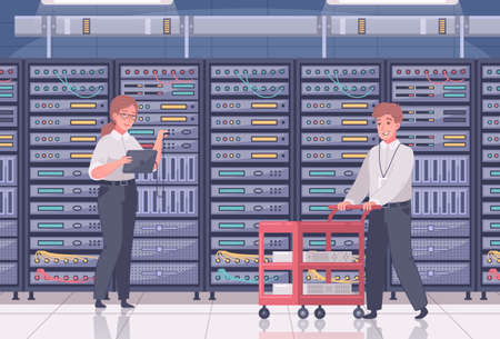 Datacenter cartoon composition with indoor view of room with rows of server cabinets and human workers vector illustration