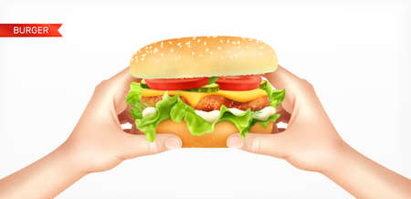 Burger in hands realistic composition with text ribbon and human hands holding round cheeseburger bread sandwich vector illustration Ilustracja