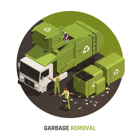 Garbage removal round composition with people in uniform loading litter into truck for recycling vector illustration